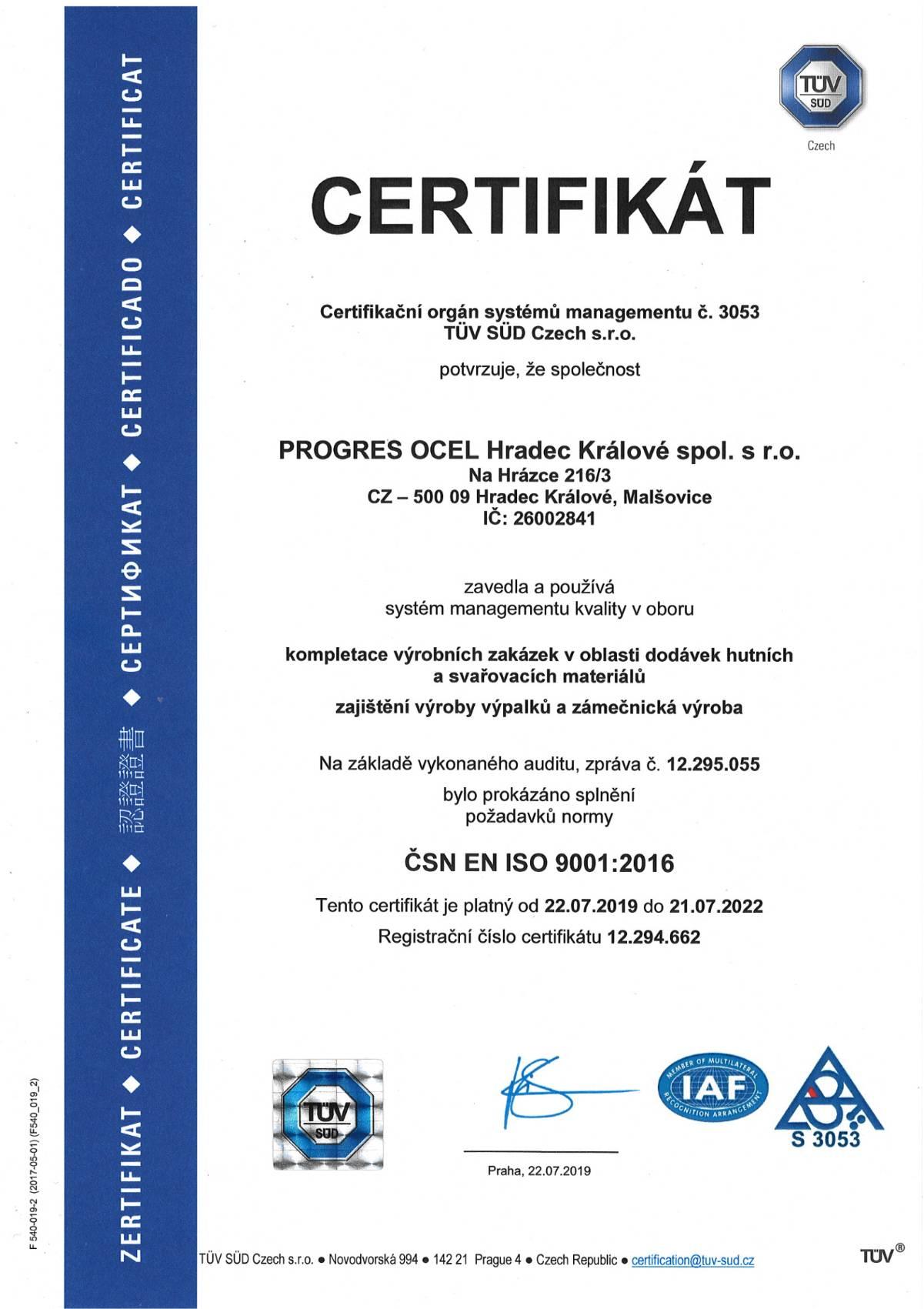 Certifikát Progres Ocel Hradec Králové spol, s.r.o.